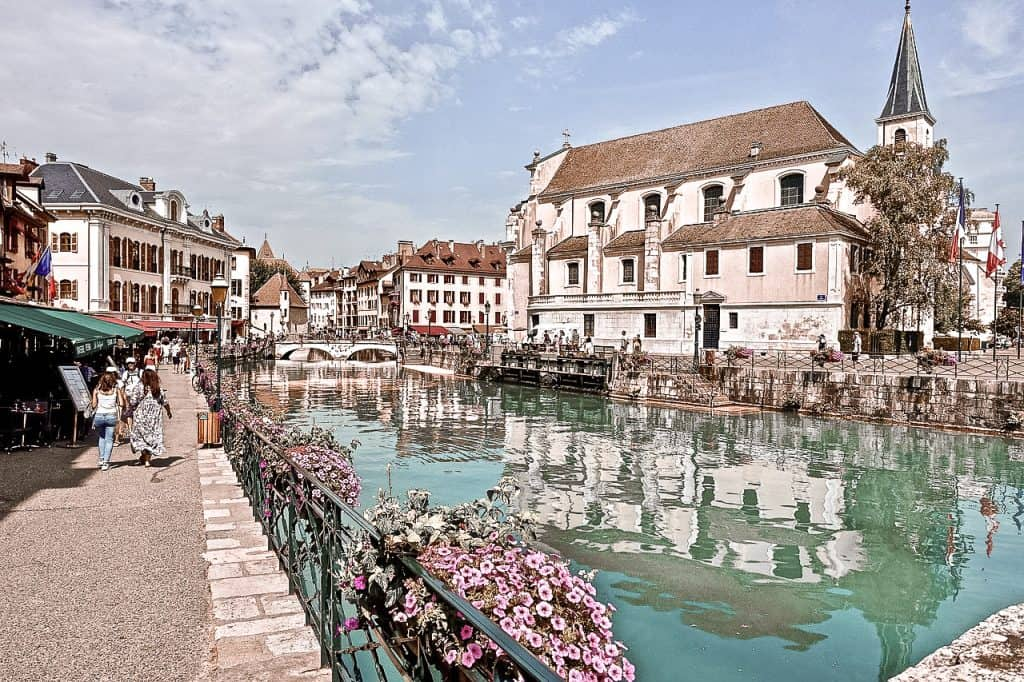 Annecy France sidewalk by water